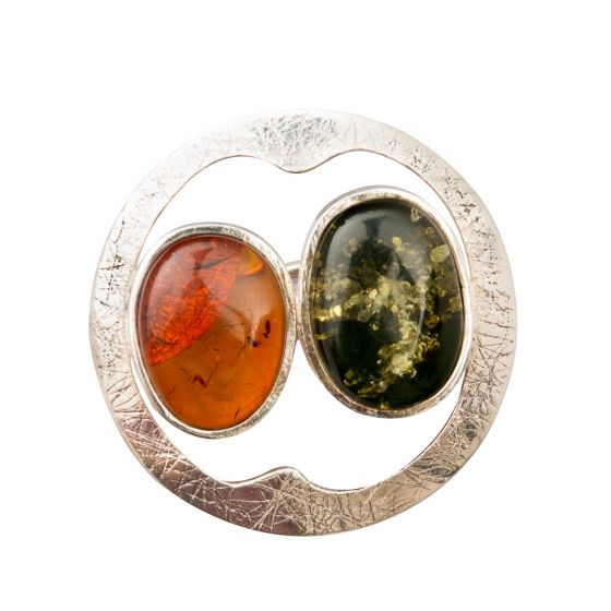 Ezüst kitűző borostyán kővel /76349/