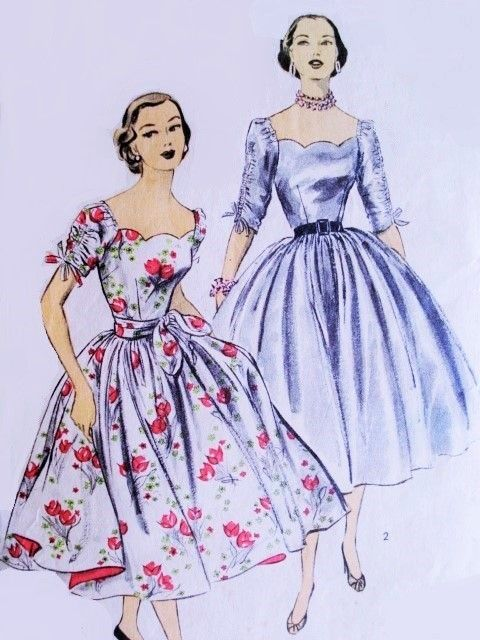 1950s Beautiful Party Evening Dress Pattern Advance 6122 Flattering Scallop Neckline Ruched Sleeves Full Dancing Skirt Cocktail Dress  Bust 32 Vintage Sewing Pattern