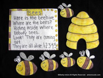 This flannel board felt story is completely hand drawn and hand colored. It features an cute Bee story (on felt, too!) with adorable bees with sparkly wings. There are 7 handmade pieces. The beehive is approx. 6-1/2 inches tall. The Bee story is approx. 7 inches x 8-1/2 inches. This will be a student favorite!
