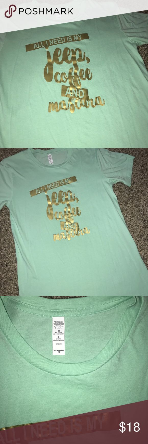 Jeep Tshirt Super cute mint green and gold lettering!! For those jeep lovers!! Size small!! In excellent condition!! Open to offers!! :) Tops Tees - Short Sleeve