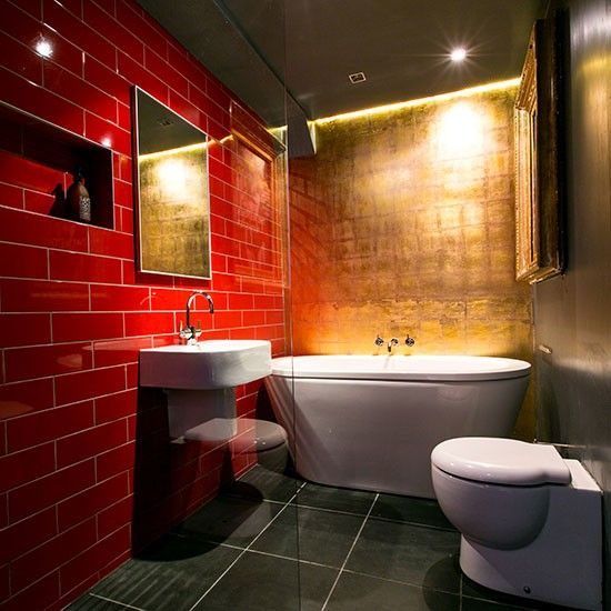 17 best images about red wall floor tiles on pinterest for Red tile bathroom ideas