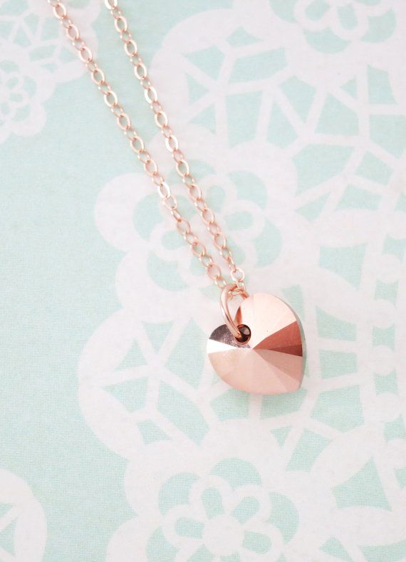Rose Gold Heart necklace - simple rose gold filled necklace with a forever love, Swarovski heart crystal, romance, chic, www.colormemissy.com