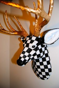 Black and White Checked - Deer Head Antlers Faux Taxidermy Wall Mount - accessories and decor - baltimore - Near and Deer