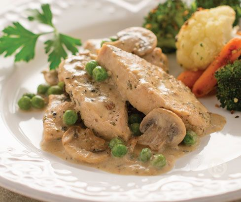 Creamy Turkey Tenderloin Recipe │Turkey breasts mixed with cheese, peas, mushrooms and a delicious creamy sauce.