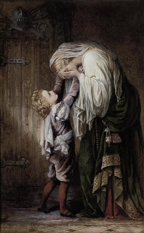 """23silence: """" Margaret Gillies (1803-1887) - Sorrow And Consolation: 'ill Tidings From The Field Of Battle, 1852 (Note: Margaret Gillies was a British miniature and genre painter. This work is done in pencil and watercolor with gum arabic. – Shades..."""