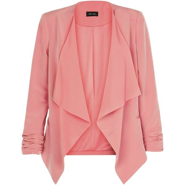 New Look Coral Crepe Waterfall Blazer (88 PEN) ❤ liked on Polyvore featuring outerwear, jackets, blazers, coral, red blazer, coral blazer, ruched sleeve blazer, coral jacket and waterfall blazer