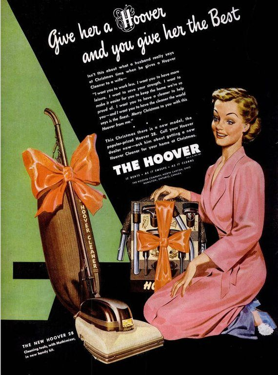 1946 Hoover Vacuum Christmas Advertisement Print Ad Poster Holiday