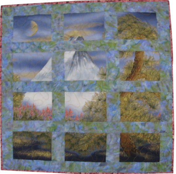 Quilted Wall Hanging Asian Volcano $68.00