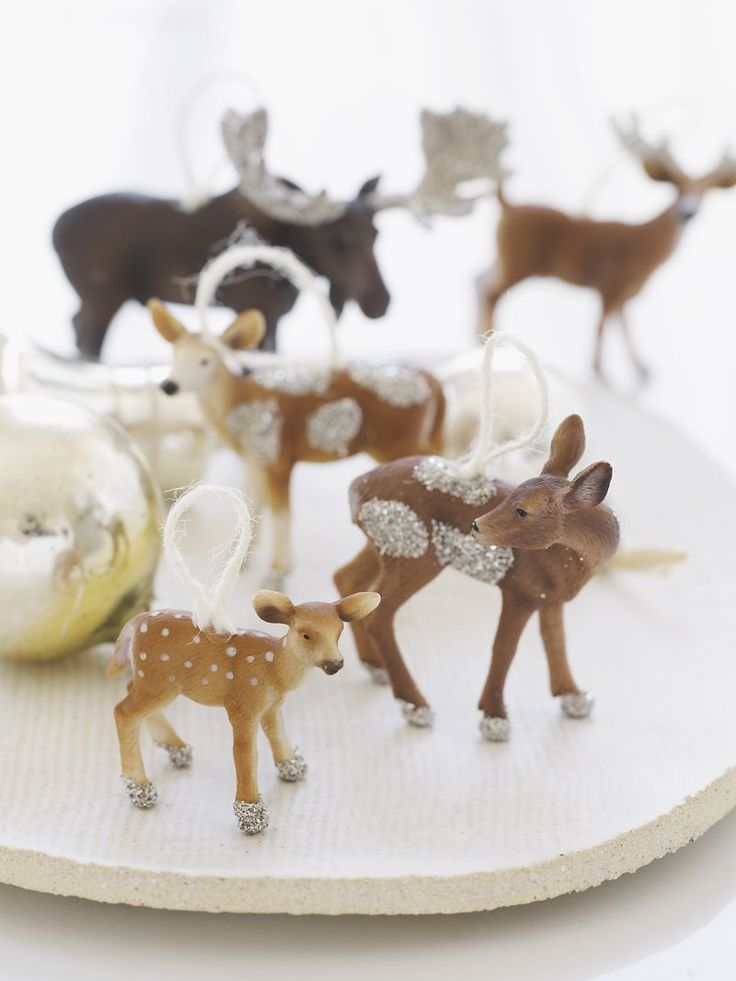 sparkly plastic animal ornaments//sweet paul