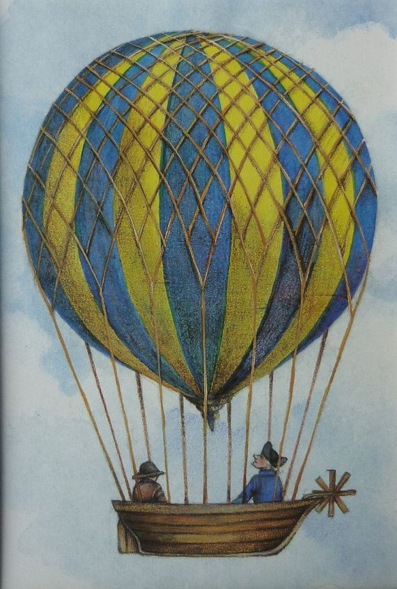 Vintage Hot Air Balloon Print - Steampunk Art - Balloon ...