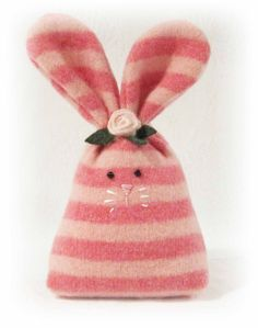 Pink Striped Felted Wool Easter Bunny with Pink Rosebud
