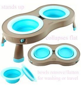 Travel Dog Water Bowls Portable Collapses Flat Turquoise (Small & Large Available)