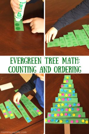 This evergreen tree math activity is a good way to work on counting, 1:1 correspondence and ordering. Add dot stickers and turn it into a Christmas tree!