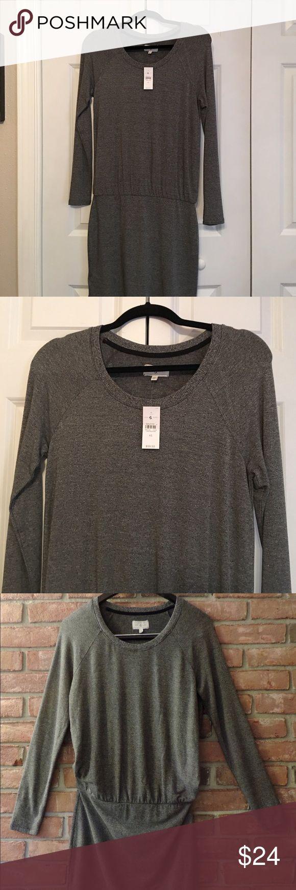 Lou & Grey long sleeved dress Lou & Grey long sleeved Grey dress. Round neck. Fits tight below the waist. Elastic waist. Lou & Grey Dresses Mini