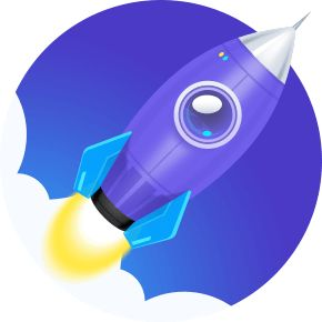 APUS Booster+ Symbol is a blue rocket taking off at the same speed as your phone after boost