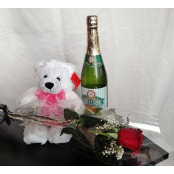 """#bowmanvilleflowers #valentinesday #giftideas #love #sparklingcider #sparklerose #red #rose #teddy #bear #chocolatecoveredstrawberries  """"My Sweetheart"""" Package 