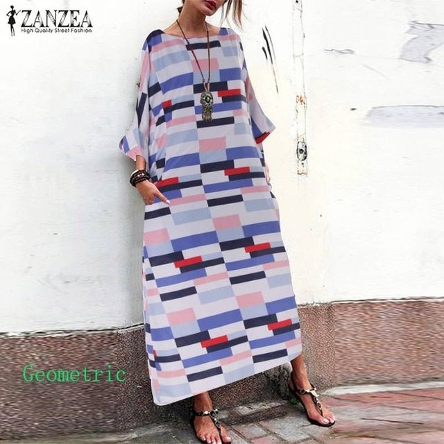 Vintage print baggy dress women's summer sundress 3/4 sleeve long vestidos casual floral robe plus size 5xl 2