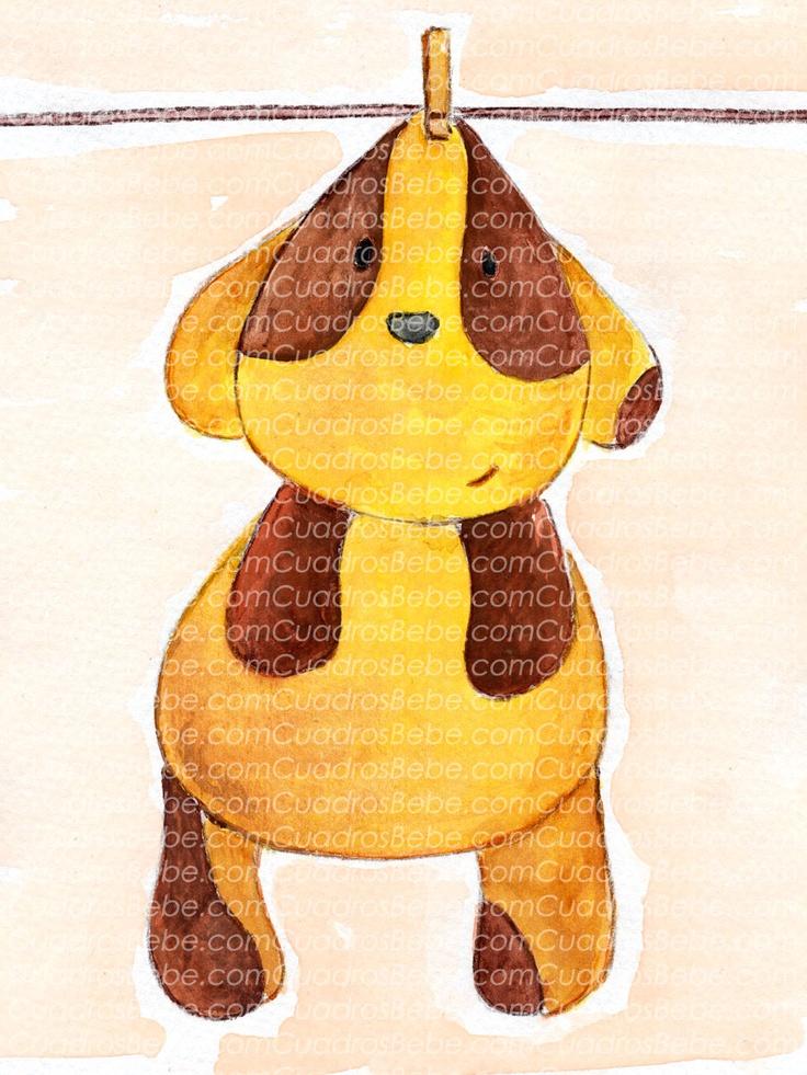 Cuadro bebe perro o perrito de peluche, pintado a mano con pintura y acuarela, para la habitación o cuarto de los más pequeños de la casa