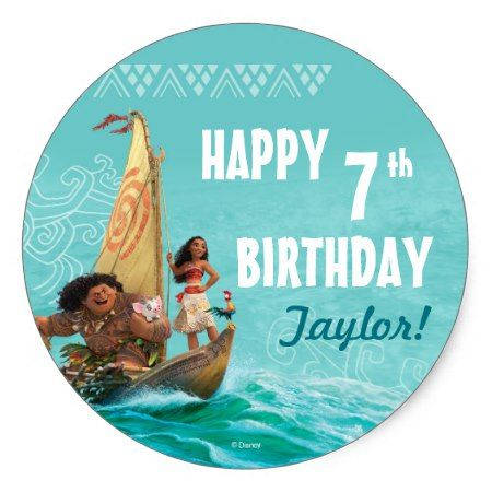 Moana | Oceanic Birthday Classic Round Sticker - click/tap to personalize and buy