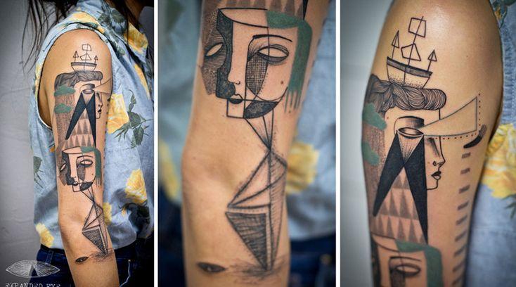 Jade Tomlinson e Kev James sono due artisti e illustratori inglesi che hanno creato una collezione di tatuaggi cubisti, con tratti surrealisti e visionari.