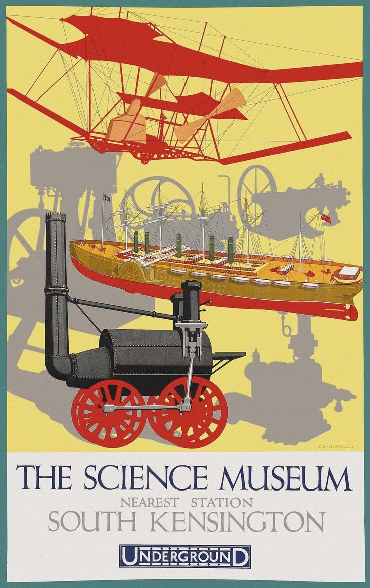 The Science Museum by London Underground 1928 vintage travel poster reprint | eBay