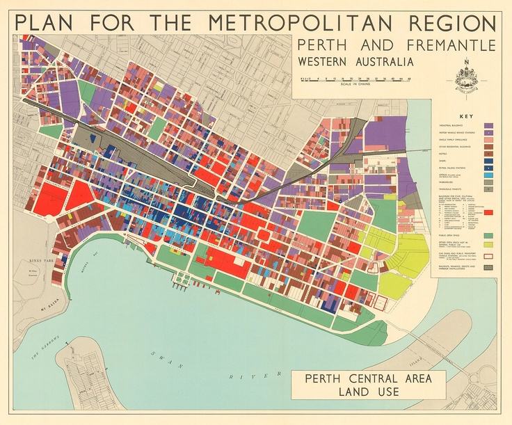 A plate from the Plan for the Metropolitan Region, Perth and Fremantle, Western Australia, 1955 co-authored by John Alistair Hepburn and Gordon Stephenson. Essentially the blueprint for planning in Perth, forming the basis of the statutory Metropolitan Region Scheme in 1963.