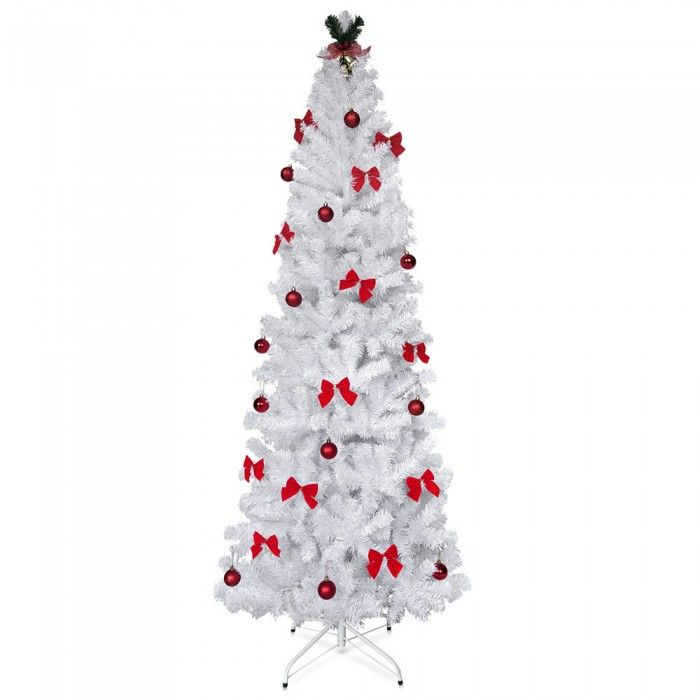 1.8M Christmas Tree with Ornaments - White
