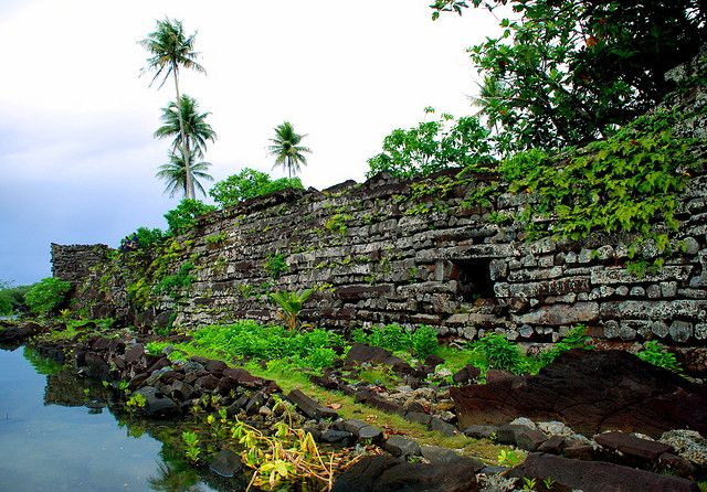 Nan Madol, Pohnpei, Federated States of Micronesia (c.200 B.C.–800 A.D.) was built on a coral reef and consists of about 100 artificial islands made from huge basalt blocks connected by viaducts.