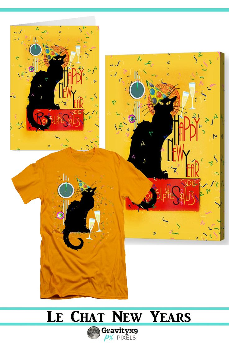 Chat Noir New Years Party Countdown - Happy New Year from Le Chat Noir!  Ready to party wearing a party hat, lots of confetti and a clock to ring in the new year! Available on Tee's,cards, home decor, and more!  #SpoofingTheArts with #Gravityx9 Designs at  Pixels and FineArtAmerica