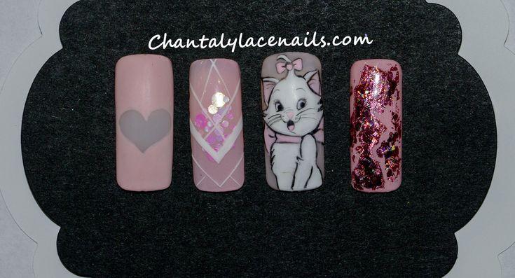 Disney nail art/ Aristocats/Marie/Pink Nails