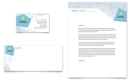 Global Network Services Business Card & Letterhead Template by @StockLayouts