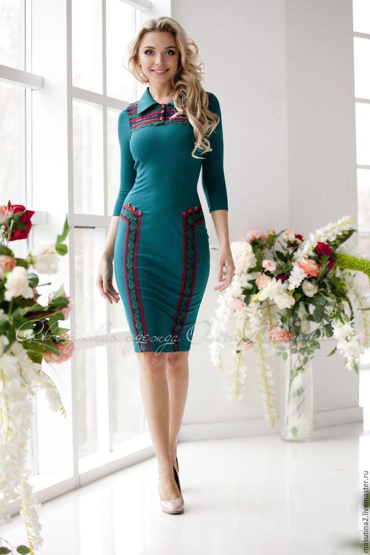 """Купить Платье """"Slim"""" - тёмно-бирюзовый, трикотажное платье, платье в офис, платье на заказ"""