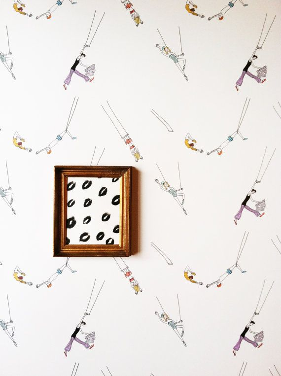 Removable Wallpaper // Trapeze Act Print // Flying High // Assorted lengths // Perfect for renters