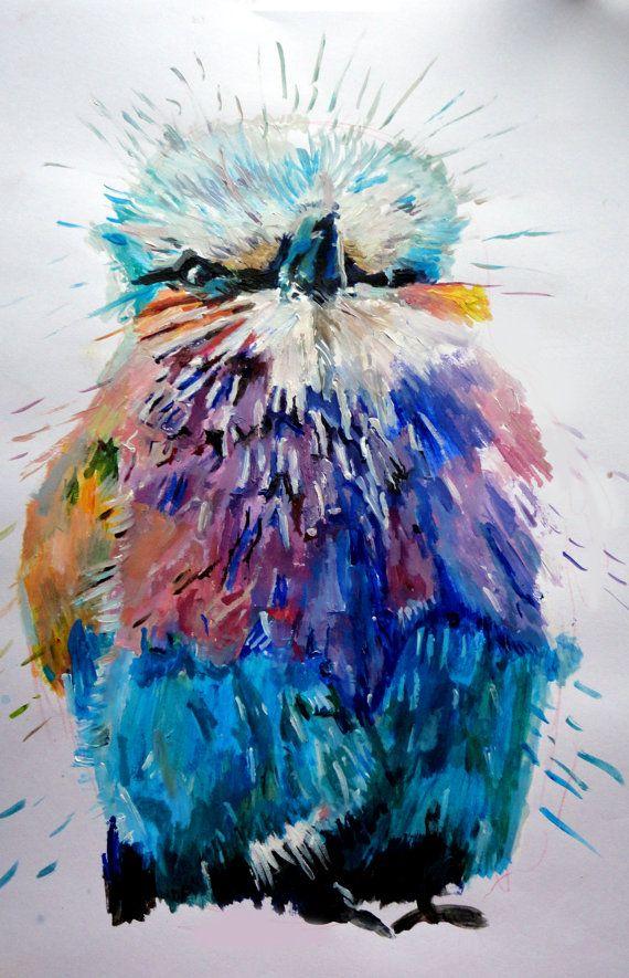 Bird Painting Art Impressionism Modern Art Colourful Bird Kingfisher PRINT 16 x 12 inches on matt paper. £20.00, via Etsy.