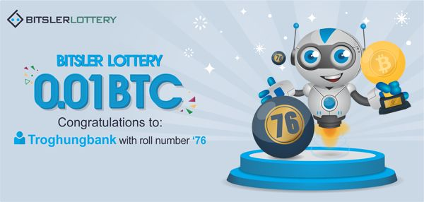 Congratulations to Troghungbank who won 0.01 BTC ($158) ! The next one will take place @ btslr.co/4XRh3 😌   #bitcoin #lottery #winner -- bitsler.com
