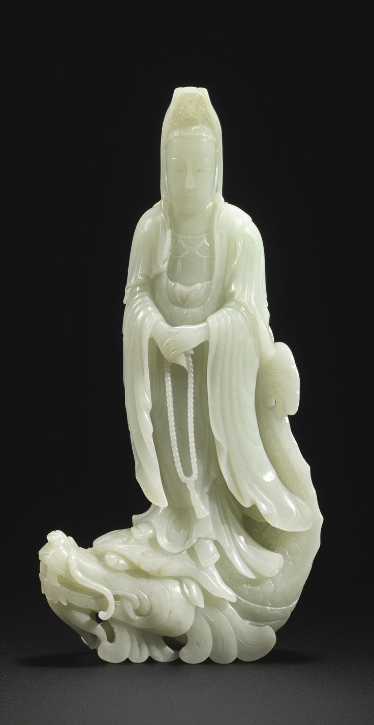 Pale Celadon Jade Figure Of Guanyin Qing Dynasty 19th Century Portrayed Dressed In Long Flowing