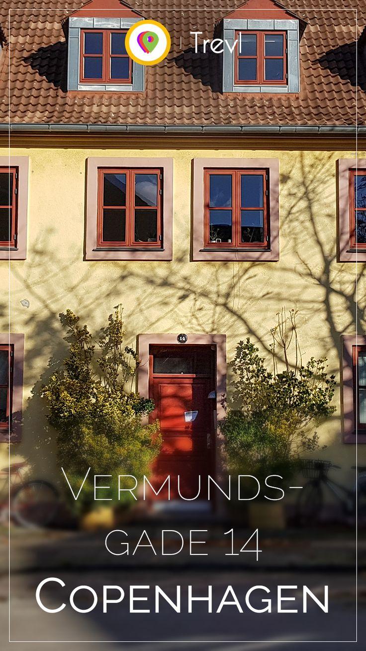 Cosy front door at a house on Vermundsgade in Copenhagen in Denmark