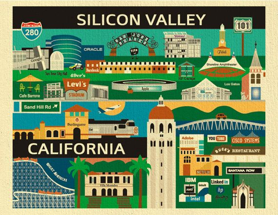 Silicon Valley Print,  Silicon Valley Poster, San Jose, Palo Alto, Stanford Print, Silicon Valley Skyline, Silicon Valley map art-  E8-O-SIL