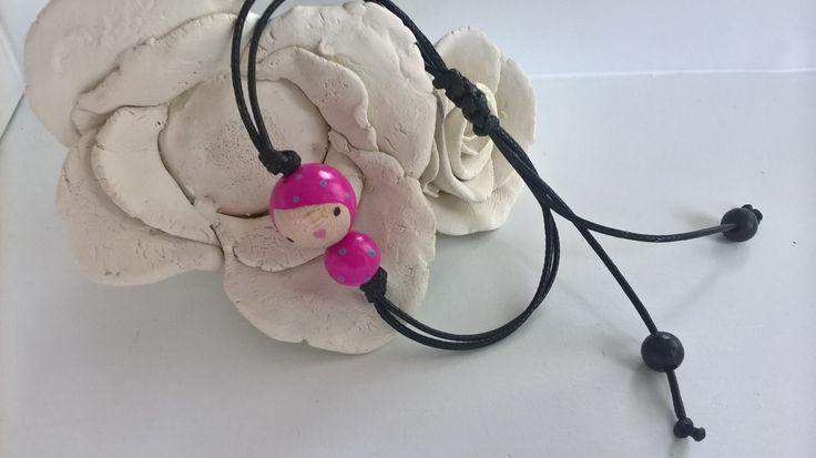 """Náramek+LifeBeads+-+růžová+panenka+Náramek+s+panenkou+LifeBeads+v+růžovébarvě.+Náramek+je+na+""""shamballa+zapínání+-+stahování!+panenka+je+2,2cm+dlouhá"""