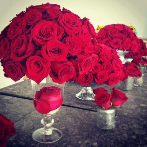 Red bright roses, silver pots