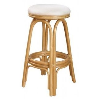 Carmen Natural Finish Rattan and Wicker 24-inch Indoor Swivel Counter Stool with Cushion
