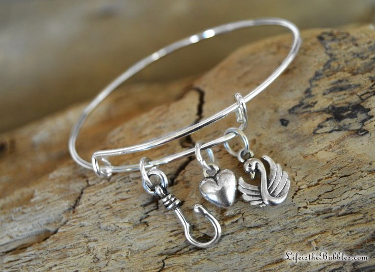 Captain Swan Bangle Bracelet with a Hook Charm, a Heart Charm and a Swan Charm, Once Upon a Time, ABC Show, by Life is the Bubbles