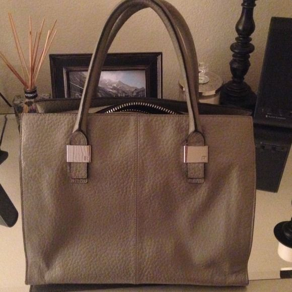 "Grey Reiss Handbag Grey pebbled leather handbag by Reiss. In great condition with minor wear on corners. Light scratch on one of the silver hardware but doesn't detract from this spectacular bag. Size measures 13"" x 11"" . Reiss Bags"