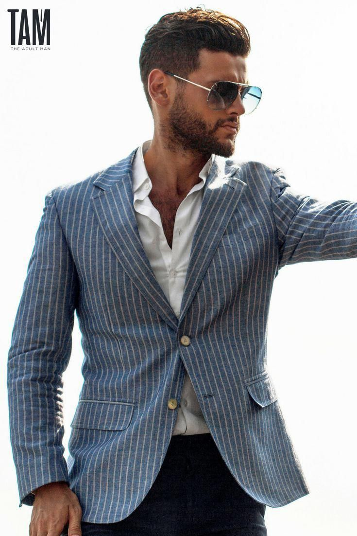 business casual style 2018 blue pin stripe suit jacket and white  blue pin stripe suit jacket and white shirt tucked into jeans capped off with aviator sunglasses for the ult\u2026 mens jeans jeans\u2026
