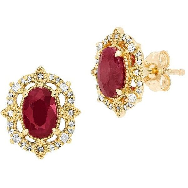 Lord & Taylor Diamond, Ruby and 14K Yellow Gold Stud Earrings (690 BGN) ❤ liked on Polyvore featuring jewelry, earrings, red, ruby diamond earrings, ruby earrings, stud earrings, gold post earrings and 14k stud earrings