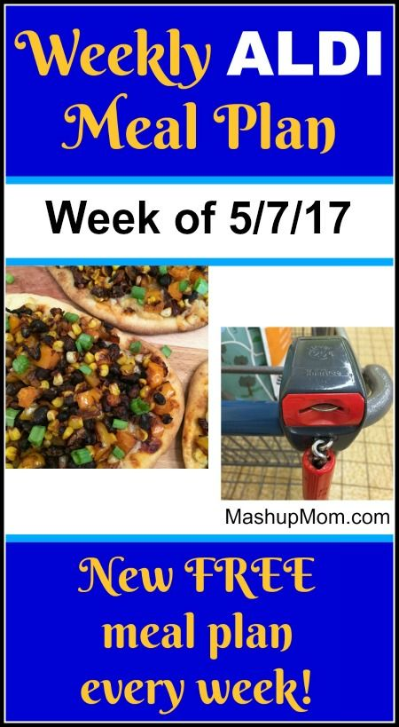 FREE ALDI meal plan for the week of 5/7/17 -- come back each week for a new ALDI meal plan! Six meals for a family of four, $60 out the door.