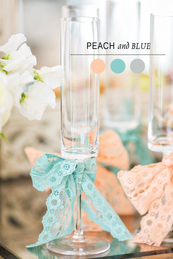 Chic blue and peach color palettes for bridal shower ideas