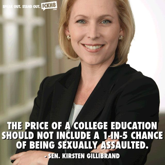 The price of a college education should not include a 1-in-5 chance of being sexually assaulted. Kirsten Gillibrand is one of the best.