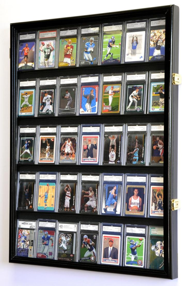 35 graded sport cards collectible card display case wall