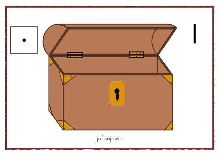 Kleikaart schatkist:  vul jouw schatkist met het juiste aantal goudstukken - http://www.jufanja.eu/piraten